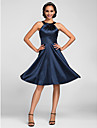 A-Line Jewel Neck Knee Length Stretch Satin Bridesmaid Dress with Side Draping by LAN TING BRIDE®