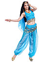 Belly Dance Outfits Women\'s Performance Chiffon Beading Sequin Coin Sleeveless Top Pants Hip Scarf Headwear