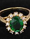 Pentru femei grup Inel de declarație / Inel de logodna - Zirconiu, Placat Auriu Iubire Lux 7 / 8 Verde Închis Pentru Nuntă / Petrecere / Cadou