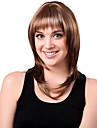 Capless Medium Syntetisk Blandad Rakt lockigt hår peruk Full Bang