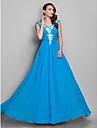 A-line printesa v-gât pardoseală lungime șifon prom dress cu beading de ts couture®