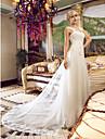 Linia -A De Pe Umăr Lungime Podea Tulle Made-To-Measure rochii de mireasa cu Mărgele / Aplică / Cruce de LAN TING BRIDE®