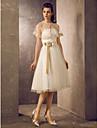 Linia -A Prințesă Fără Bretele Lungime Genunchi Tulle Rochie de mireasă cu Mărgele Eșarfă / Panglică Arc Flori de LAN TING BRIDE®