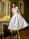 Linia -A / Prințesă Halter Lungime Tea Tulle Made-To-Measure rochii de mireasa cu Drapat de LAN TING BRIDE® / Mica Rochie Albă