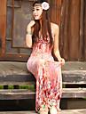 Femeile frumos Maxi Dress Etaj Lungime Floral Print