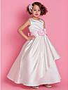 A-line podea lungime floare fata rochie - satin fără buzunar gât cu lanț de lan ting bride®