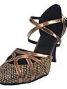Pentru femei Pantofi Dans Latin / Sală Dans Imitație de Piele Călcâi Toc Personalizat Personalizabili Pantofi de dans Bronz