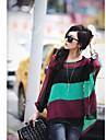 Femei gât colorat Stripe Batwing Sleeve libere Bluza & Vest