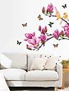 Lila Magnolia Flower Butterflies Wall Stickers