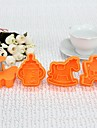 Plast 3D barnet runt Cookie Mould Set med 4 st