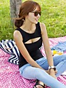 Femei sexy Cut Out Low decolteu 100% bumbac T-shirt
