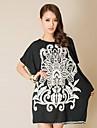 Noi femei de mari dimensiuni femei s Round Comerțului Exterior alb Neck Bat Sleeve Black Dress (de croitorie aleatorie)