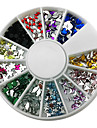 12-Color Mixed Style nagel konst Glitter Akryl Rhinestone dekorationer
