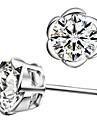 Clasic argint placat cu argint cu Cubic Zirconia flori Forma femei Cercel