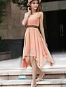 Pentru femei de vara solid Culoare șifon mâneci dintr-o bucata Dress