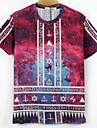 A bărbaților Tricouri Amestec Bumbac Print Casual Manșon Scurt-Multi Color