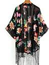 Femei Flori franjuri Kimono stil Cardigan Bluza