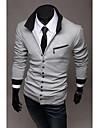 Bărbați rever moda casual bumbac pur fermoar Slim maneca lunga Shirt