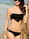 Dame Poliester Nailon Spandex Fără Întăritură Cu Bretele,Bikini Solid Franjuri Solid