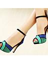 damskor trefärgad peep toe mocka övre sandaler mer färg finns