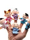 Familj Fingerdockor Hand- och fingerdockor Söt Familjelevision Föräldra-Barninteraktion Vackert Originella Plysh Flickor Present 6pcs