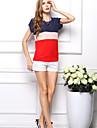 Pentru femei de vara Round Patchwork Contrast culoare libere șifon T-shirt