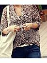 Jinyi New Style Stand guler Loose Fit Leopard Bluza