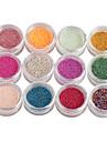 12 pcs Nail Smycken / Glitter & Poudre Abstrakt / Mode Dagligen Nail Art Design / Metall