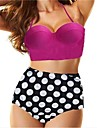 Violet Femei Swim Suit Push up Top & Polka Dot talia inalta Bottom