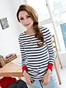 Pentru femei cu maneca lunga albastru alb Stripe T-Shirt