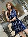 Femei Mini V-Neck mâneci scurte Floral Print rochie casual Vintage