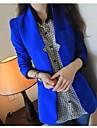 Femei În V Blazer MuncăMată Manșon Lung Primăvară / Toamnă / Iarnă-Albastru / Roșu / Alb / Negru Subțire Poliester