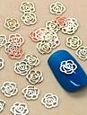 200st ihålig blomma form gyllene metall slice nagel konst dekoration