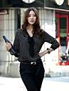 Femei V Neck Polka Dots Print maneca lunga șifon Shirt