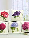 5 buc pastorală floral țara pătrat de bumbac / lenjerie de acoperit pernă