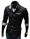 Captuseala Duolunduo bărbați Slim interior Verifică Patch maneca lunga Shirt (Negru)