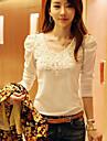 stil coreean yiluo mânecă rotund guler puf cămașă (alb)