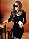 yiluo v gât sexy rochie cu maneci lungi bodycon (negru)