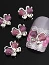 10st flygande fjäril med lila katt öga sten 3d legering nagel konst dekoration