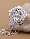 vilin femei argint floare pandantiv colier