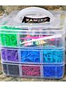 4800pcs couleur assortie bricolage style de metier rainbow color bande de silicone elastique les bandes de bracelets tisses, 1box