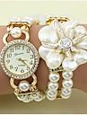 Pentru femei Ceas La Modă Ceas Brățară Quartz imitație de diamant Aliaj Bandă Floare Perlă Elegant Alb Gri Auriu