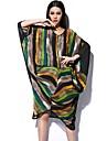 GIMFI Women's Fashion  Colorful Stripe Cape Sleeve Loose Midi Dress
