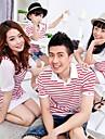Family\'s Fashion Stand Collar Stripe Stitching Cotton Puff Sleeve T-shirt & Dress