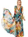 Bali de moda cu maneca lunga v gât sifon glezna imprimeu floral rochie leagăn lungime