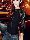 SWD moda dantelă despicare camasa cu maneci lungi (gri, negru)
