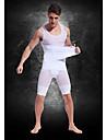 bästa anpassade starka lätta andas mesh bälte mäns buken fettförbränning kroppen skulptera kläder vita