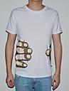 lesen bărbați gât rotund stil de moda coreeană ambreiaje imprimare t-shirt o