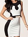 despicare centură alb negru rochie bodycon femei