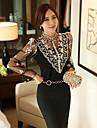 j&k rundă gât diamante tricou dantelă femei